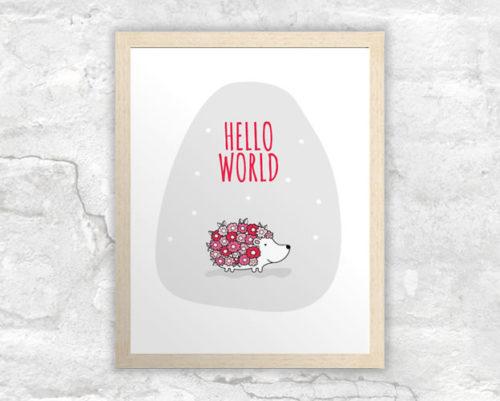 DIY A3-Hello-World-Hedgehog-Red-Frame