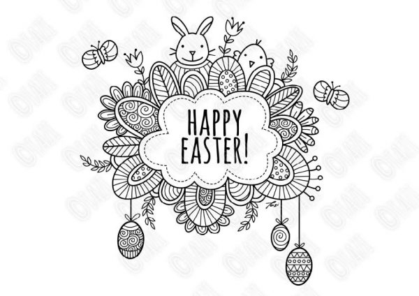 DIY Happy Easter Colouring