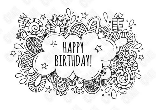 A4 happy birthday bubble