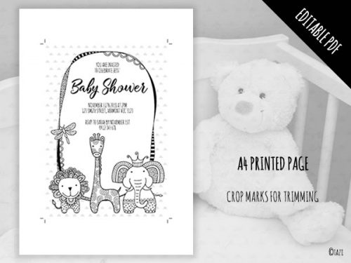 DIY Baby Shower A5 BW Editable