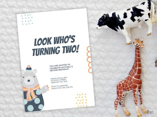 DIY Bear-baby-invitation