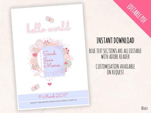 DIY Invitations Birth Print Hello World Edit