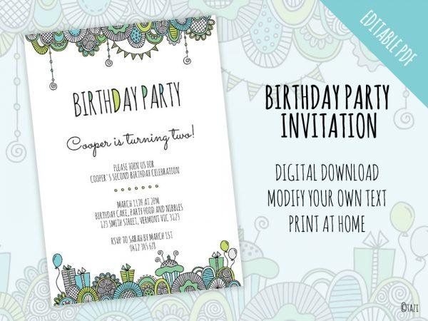 DIY Birthday-green-invitation