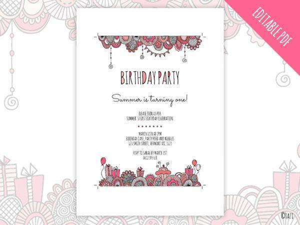 DIY Birthday-pink-invitation