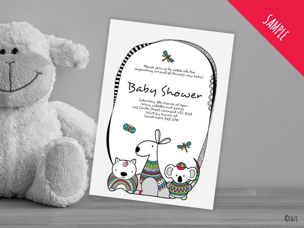 DIY-Infant-A5-Invitation-aussie-animals-sample
