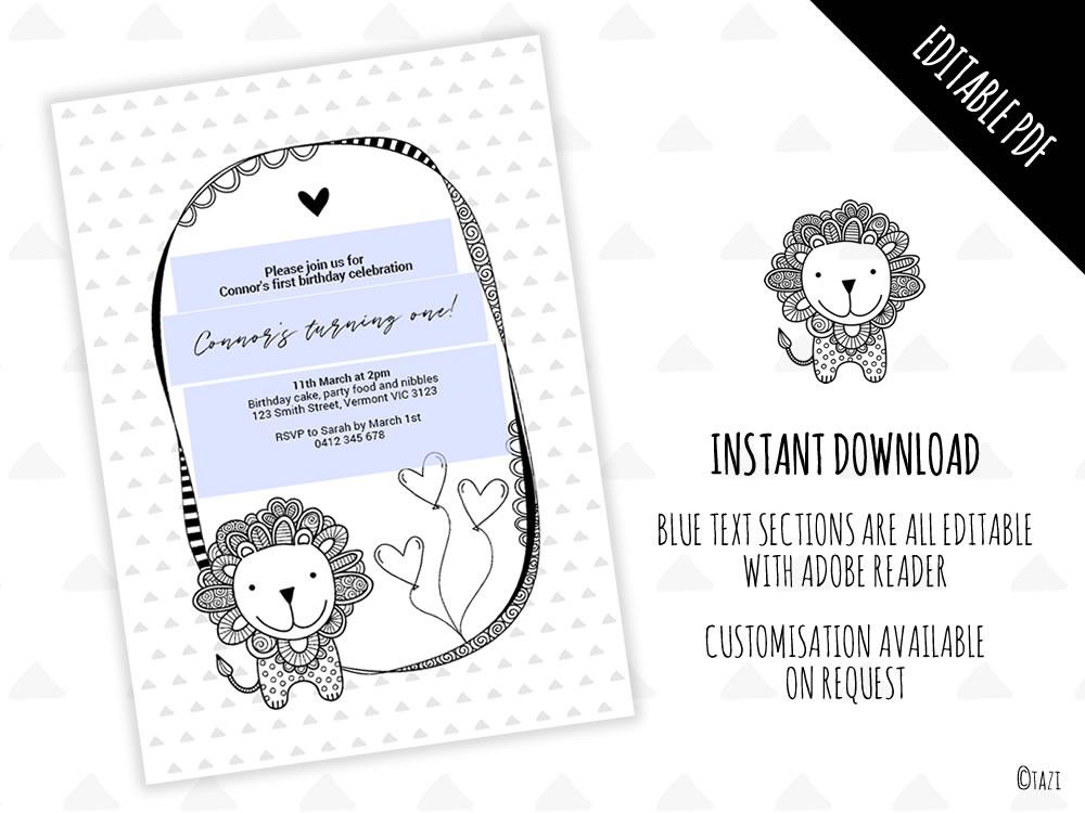 DIY Infant Lion Invitation Editable