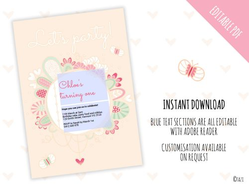 Let's Party Invite Pink Editable