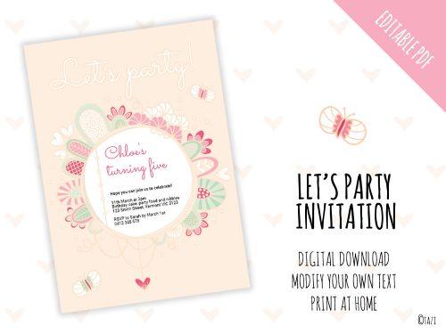 DIY Let's Party Invite