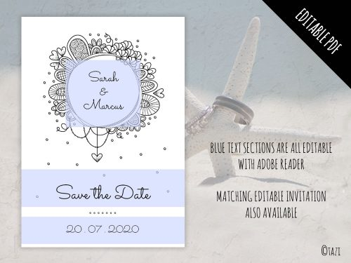 DIY Save the Date BW Top Editable
