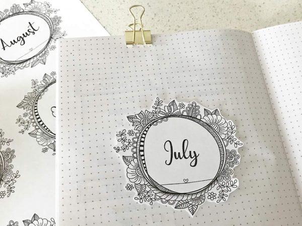 DIY Stickers-Month-Journal
