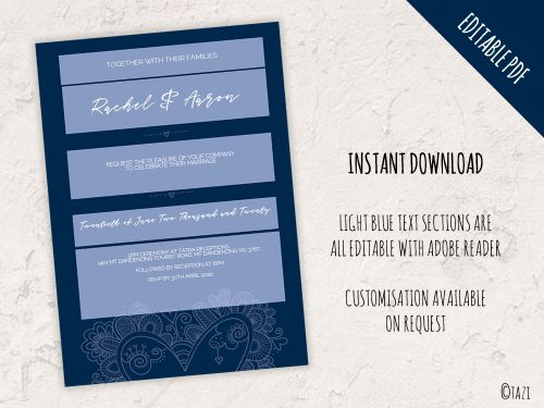 DIY Wedding Heart Navy Hero Editable