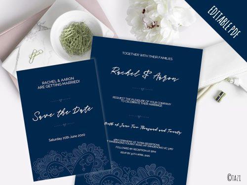 DIY Wedding Heart Navy Mockup2