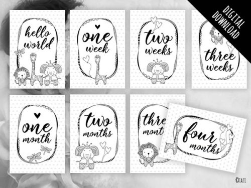 Baby Milestone Cards B&W Animals