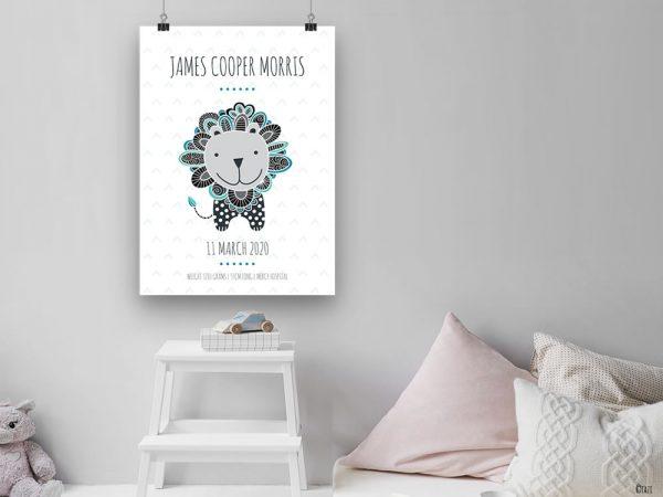 DIY birth-print-lion-grey