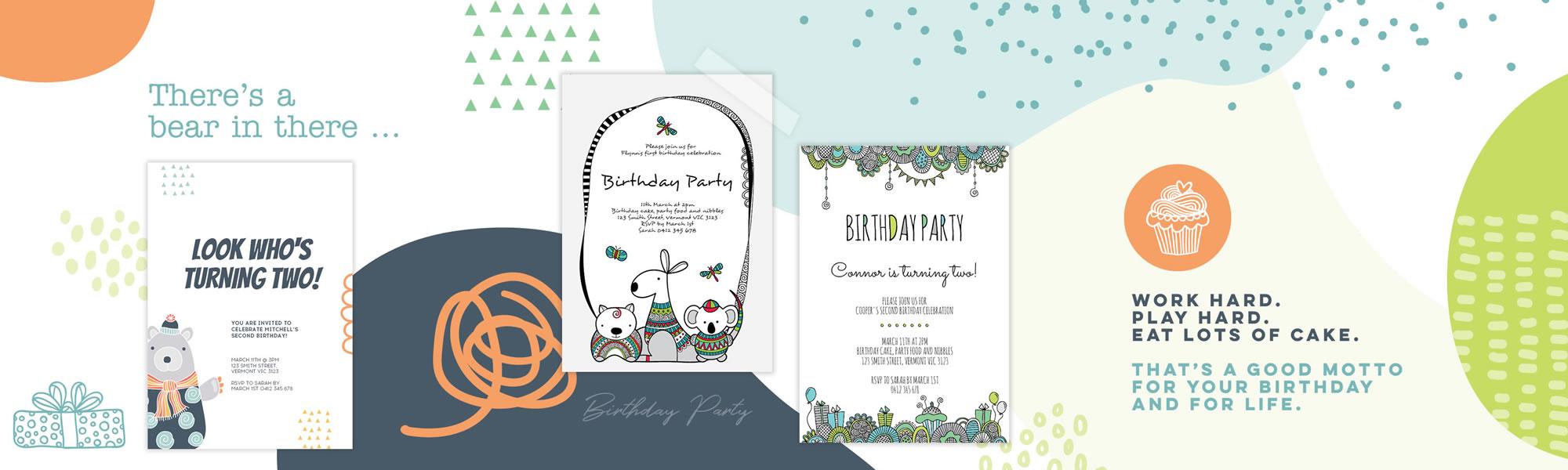 Infant birthday invitations